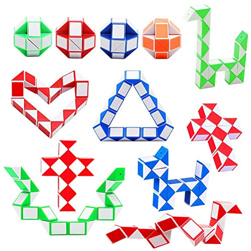 Camelize Puzzle Magische Schlange Spielzeug,12 Packung 24 Blöcke Mini Schlange Würfel,Magische Geschwindigkeit Würfel für Kinder Party Tasche Füllstoff, Party Favors (Zufällige Farbe)
