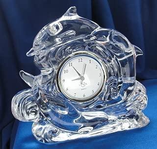 Lenox Full Lead Crystal Dolphin Clock Shiny Nautical Art Glass Silver