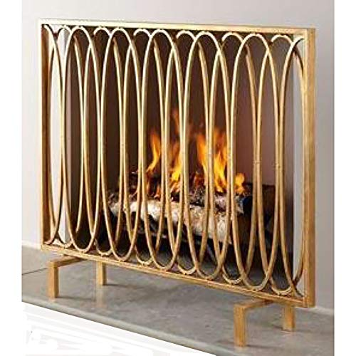 Check Out This Large Wrought Iron Spark Guard, Single Panel Gold Fireplace Screen, Chlid Fireproof S...