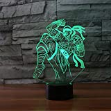 DFDLNL 3D LED Boxing Warriors Modeling Night Light 7 Colores Cambio de Juego Figura Lámpara de Mesa Dormitorio Lampara Iluminación Decoración Niños Regalos