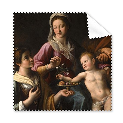 DIYthinker Religion Christentum weltberühmte Wahrzeichen Klassische Ölgemälde die Heilige Familie mit Dorothea Art Design Illustration Muster Brillenputztuch-