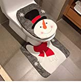 HESHIFENG. party & accessories Christmas Snowman Santa Deer Toilet Seat Cover and Rug Set Red Christmas Decorations Bathroom (Snowman Style 2)