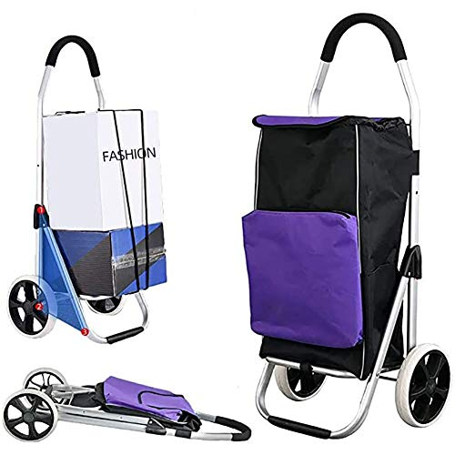 PLAYH Classic 55L Shopping Trolley With Cooling Compartment - Large Transport Trolley, Foldable Trolley With Large Wheels Shopping Cart (Color : Purple)