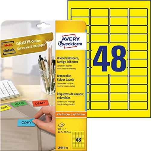 AVERY Zweckform L6041-20 Farbige Etiketten (A4, 960 Stück, ablösbar, 45,7 x 21,2 mm, 20 Blatt) gelb
