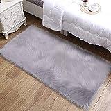 Daoxu tappeto in pelliccia ecologica di pecora, elemento decorativo a pelo lungo in simil ...