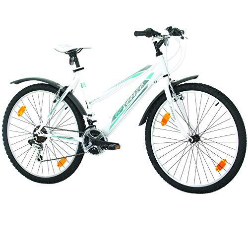 Multibrand, PROBIKE 6th SENSE, 460mm, 26 Zoll, Mountainbike, Shimano 18 gang, Schutzblech-Set, Für Damen (Türkis/Weiss+Kotflügel)