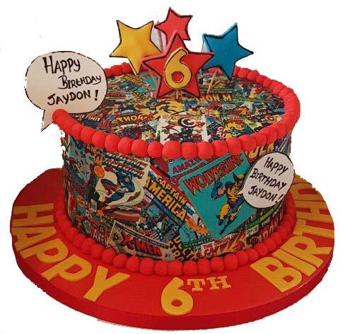Decoración comestible para tarta con diseño de cómic de superhéroes de 19 cm
