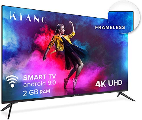 "Kiano Elegance TV 50"" Pollice Android TV 9.0 2GB RAM METAL CASE [127 cm Frameless TV] (4K Ultra HD, HDR, Miracast, Smart TV, Netfilx, Youtube, Facebook) Televisore 50, Triple Tuner, Ci, PVR, Classe A"