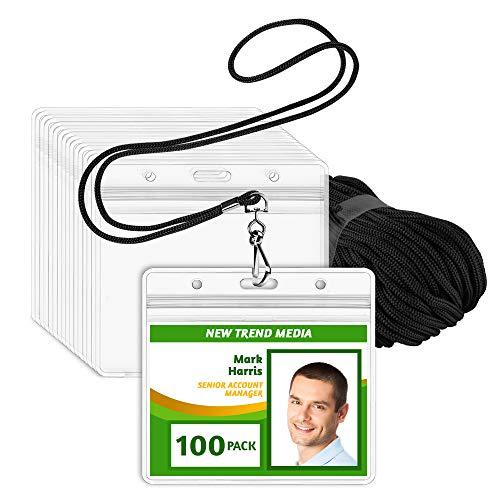 EcoEarth Lanyard w/ Horizontal Vaccine Card Protector (Black, 4x3, 100 PK) Resealable Holders & Lanyards, Lanyard ID Card Holder Bulk, Name Badge Lanyard Set, Clear Plastic Badge Holder w/ Zipper