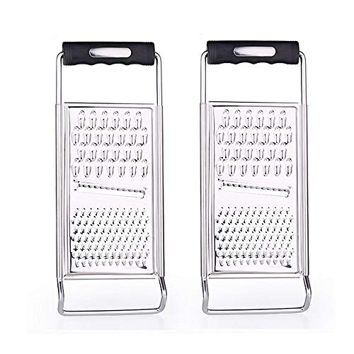 Stainless Steel Grater Zester Slicer, PASYOU Kitchen Multifunction Graters Ergonomic Soft Handle for Cheese Lemon Ginger Potato Vegetables Fruits Chocolate Micro Blade Razor Sharp Teeth Safe 2 Pcs