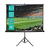 CCLIFE Écran de Projection avec Trépied (Taille au Choix) - 1:1 Format - Écran projecteur escamotable - Écran Projection Portable - HD, 3D, 4K - Ecran Projecteur sur Pied, Size:178 x 178 cm