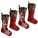Thomtery - Medias de Navidad (4 unidades, 45,7 cm, arpillera, estilo a cuadros, con copo de nieve, calcetines de Navidad, muñeco de piel sintética), diseño navideño