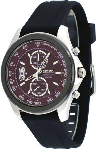 Seiko Chronograph Red Dial Black Rubber Mens Watch SNN263