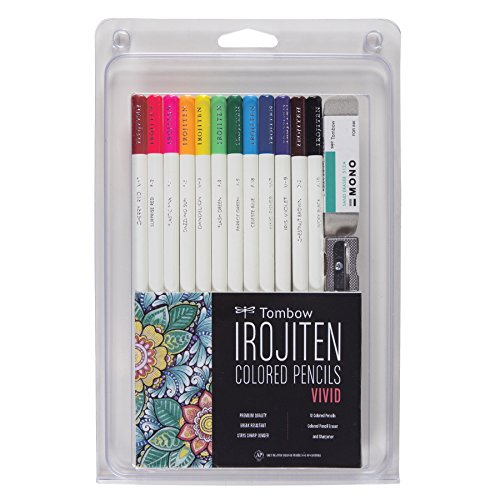 Tombow 51528 Irojiten Colored Pencil Set, Vivid. Includes 12 Premium Colored Pencils, Sharpener, and Colored Pencil Eraser