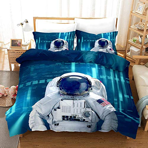 YYDD Duvet Cover Sets 3D Astronaut Printing 3 Piece Set Bedding 100% Microfiber For Gifts (1 Duvet Cover + 2 Pillowcases) -Clean Beautiful B-Queen(228cm*228cm)