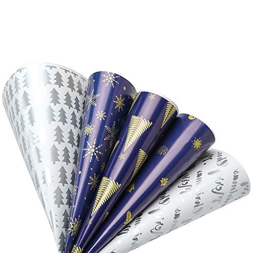 Navidad Papel de Regalo 10 Hojas Papel Regalo Papel Kraft Rollo Papel Envolver 5 Diseños para Cumpleaños, San ValentíN, Pascua, Fiesta, Baby Shower(73×51cm)