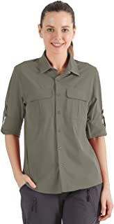 Nonwe Women's Camping Shirts Roll-Up Long Sleeve Quick Dry
