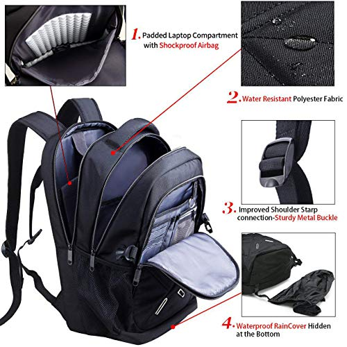 OUTJOY Unisex Waterproof Backpack with USB Charging Port, Black