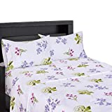 sheetsnthings Blossom 300-Thread-Count 100-Percent Cotton 4PC Full Bed Sheets Set (White with Pink, Periwinkle and Green)