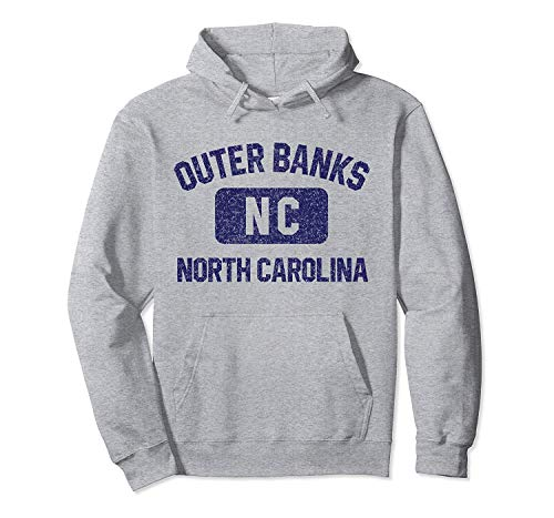 Adult Men's Hoodie Outer Banks NC Gym Style Distressed Navy Blue Print