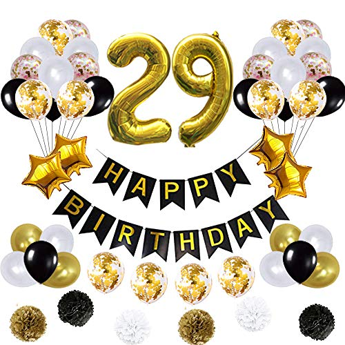 29 Birthday Decorations Ballons, Happy Birthday Banner/pom pom Flowers/Gold Mylar Balloons/Latex Balloons/Number 29 Foil Ballons/Gold