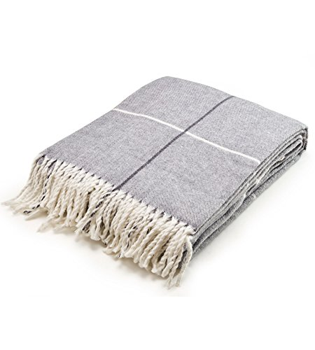 Arus, Kuscheldecke Wohndecke Tagesdecke Couch Überwurf Plaid Reisedecke, Gray Block, 100% Polyacryl, ca. 150x200 cm, 260 gr/cm²