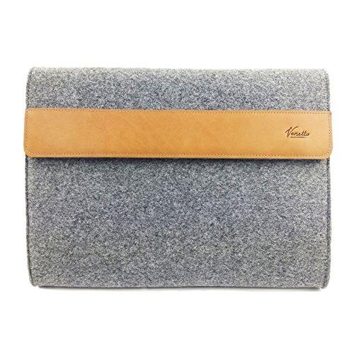 Venetto DIN A4 Business Aktentasche Arbeitstasche Herren Damen Unisex Filztasche Tasche aus Filz mit Echtleder-Applikationen (Grau)