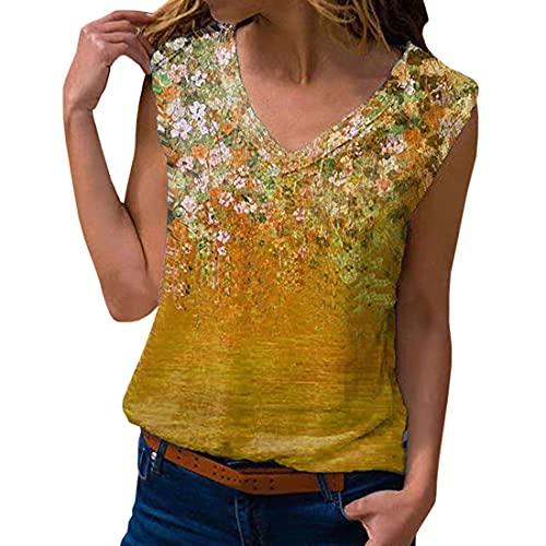 Camiseta con Cuello en V de Manga para Mujer Tops de túnica Camisas de Blusa Chaleco de Cuello en V Floral Chaleco con Estampado Floral de Mujer Camisetas sin Mangas Blusa Suelta Informal de Camisola