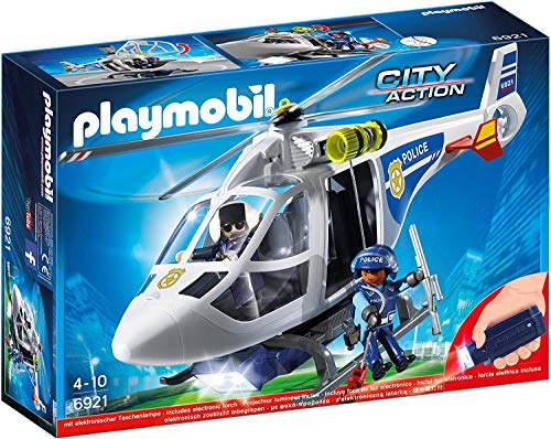 Playmobil City Action 6874 Police Helicopter with LED Searchlight for Children Ages 4+
