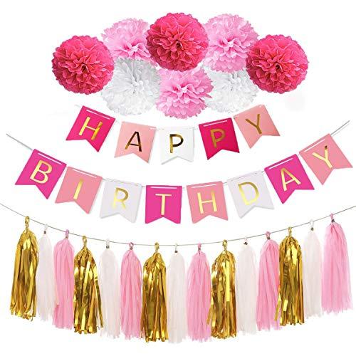 Guirnalda de banderines de cumpleaños con Pompones y issue Paper Tassels Garland, Pink White and Gold Birthday Decoration Cumpleaños Decoración