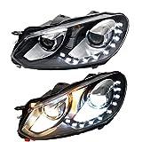 Lot de 2 lampes frontales pour Golf 6 2009 2010 2011 2012 2013 avec double lentille Xenon HID Kit/LED feux de circulation diurnes