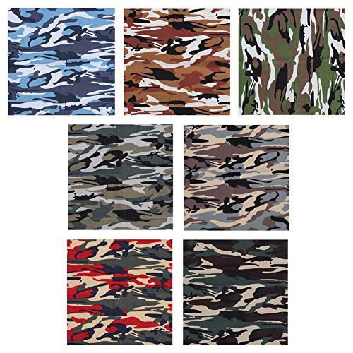 Tela de algodón Tela de impresión de camuflaje Tela de algodón para pequeñas bolsas de tela cojines carteras juguetes monederos 7 piezas 48x48 cm