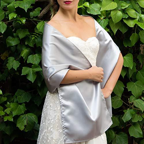 Chal saten color plata gris novia boda