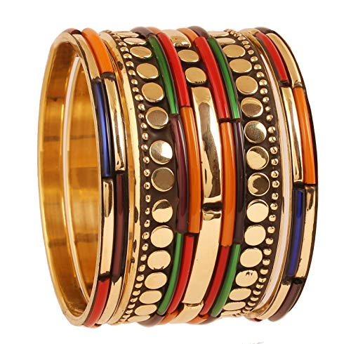 Touchstone Desire Messing Basis süße kleine Kugeln Münzen Rohre wunderschön um exotische Meenakari Emaille Armband Armreif geklebt für Damen 2.5 Mehrfarbig