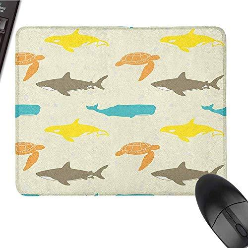 Sea Animals Mouse Pad ist ein langlebiges und komfortables Muster mit Walhai und Schildkröte. Aquarium im Gekritzel-Stil. Langlebige Farbe verblasst im B-Format