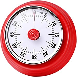 Collfa Mechanical Magnetic Retro Manual Food Kitchen Timer For Cooking And Visual Digital For Kids Timeout Loud Timer,With Alarm 60-Minute Countdown Timers,Suitable For Timing On Various Occasions-Red