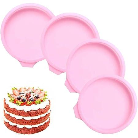 Moulle Rainbow Cake 6 Pouces, 4pcs Moules à Gâteau arc-en-ciel en Silicone, Moule Gâteau Rond en Silicone, Moule de Cuisson Anti-adhésifs Moule Rainbow Cake Silicone pour Gateaux Pain Tarte