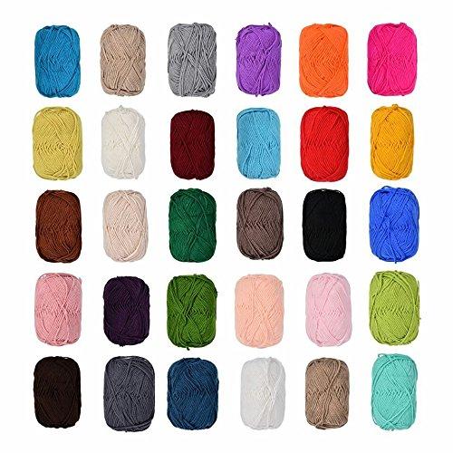 12 x 50 Gramm Bunt Wolle Baumwolle im Set,100% Baumwolle Wolle Stricken Häkeln Weben schwarz,blau,grau, rot,grün, beige,braun etc Farben Nicht wählbar