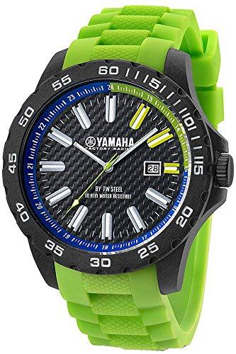 Yamaha Y9 TW Steel Carbon en siliconen armband – klok met doos, 40 mm, groen