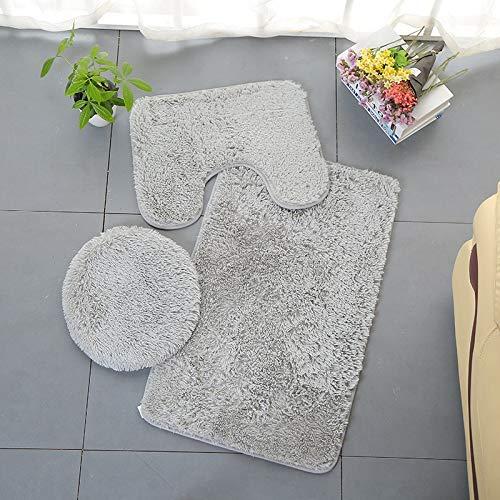 Scrolor 3 stück Badezimmer Set Teppiche U Matte Toilettendeckel Abdeckung Einfarbig Badematten Hause Bodendekoration