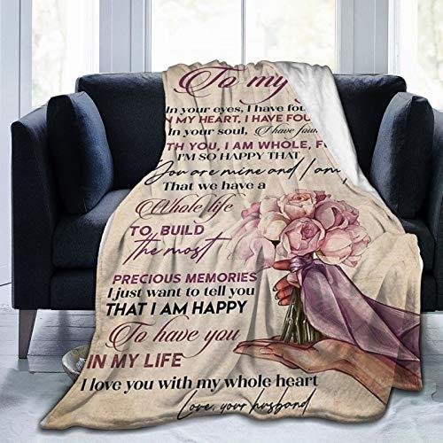 Greatertouch Manta de franela de forro polar multiestilo para mi esposa, colcha de franela para decoración del hogar, sofá, playa, picnic, viajes, 152 x 122 cm, manta para adolescentes
