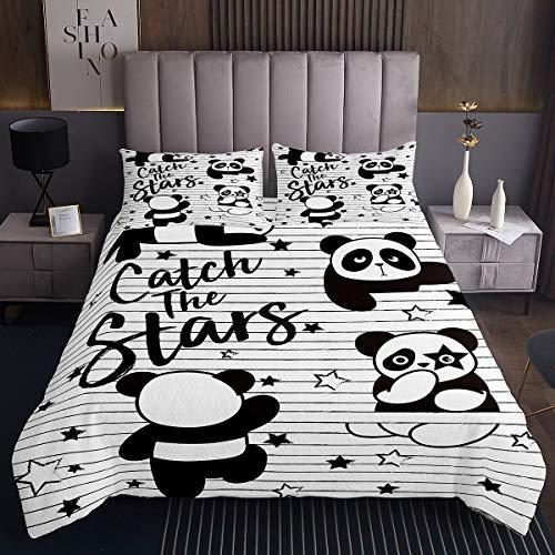 Kinder Netter Panda Gedruckt Tagesdecke Karikatur Tiermuster Bettüberwurf 170x210cm Schwarz Weiß Panda Bär Steppdecke für Jungen Mädchen Streifen Twinkle Stars