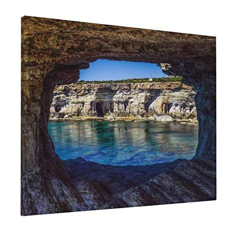 guatan Leinwand Poster Tapisserie Ölgemälde Meereshöhlen Natürliche geologische Formation Fenster Höhle Stein Landschaft Klippe Szenisches Dekor Wandbehang Bild Kunst für Schlafzimmer 16x20in