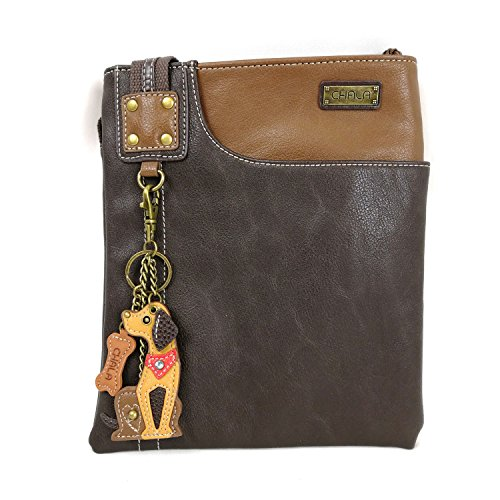 Chala Crossbody Phone Purse | SOFT PU Leather SWING Bag with Detachable Mini Key fob- 609 (Brown- Dog)