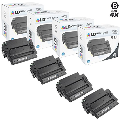 LD Compatible Toner Cartridge Replacement for HP 51X Q7551X High Yield (Black, 4-Pack)