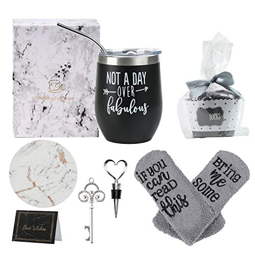 Birthday Gifts for Women, Not a Day Over Fabulous Wine Gift Set for Wine Lovers, Funny Christmas Gifts Ideas for Women, Mom, Wife, Sister, Aunt, Friends, Coworkers, 12oz Wine Tumbler with Lid (Black)