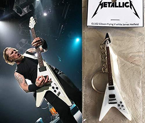 Schlüsselanhänger Gitarre Gibson Flying V James Hetfield Metallica Weiß
