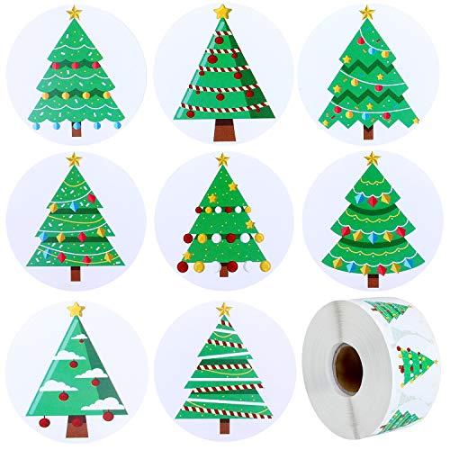 Rollo de Pegatinas de Árbol de Navidad Etiquetas Adhesivas de Navidad para Decoraciones de Navidad, Manualidades, Álbum de Recortes (1000)