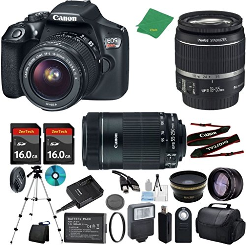 Read About Canon T6 Camera with 18-55mm IS + 55-250mm STM Lens + 2pcs 16GB Memory + Case + Memory Ca...