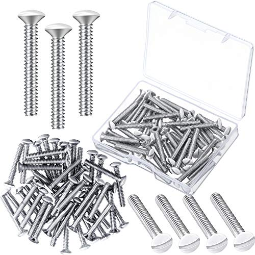 120 Pieces White Wall Plate Screws, 1 Inch Long Slotted 6-32 Threads Switch Cover Screws Oval Head Milled Slot Screws Wall Panel Replacement Screws for Wall Panels Light Switch Panels